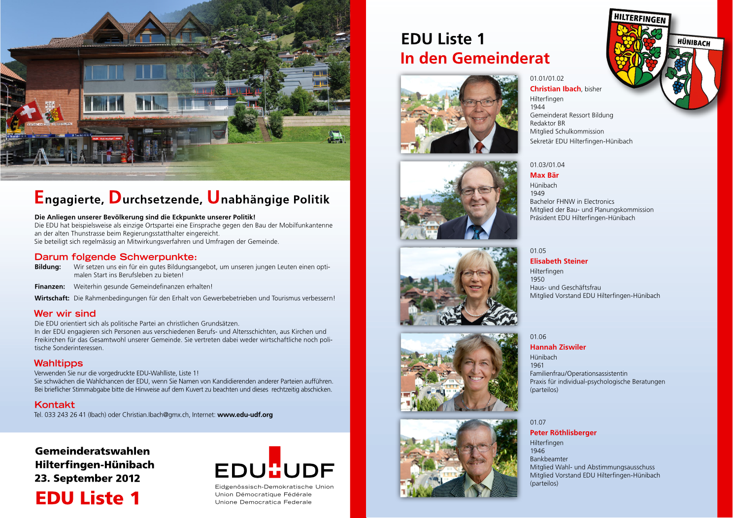 Wahlplakat Hilterfingen 2012
